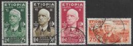 Ethiopia Scott # N3-6 Used Italian Occupation Victor Emmanuel Lll, 1936 - Ethiopia