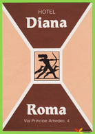 Voyo HOTEL DIANA Roma Italy Hotel Label  1980s  Vintage Sticker - Hotel Labels