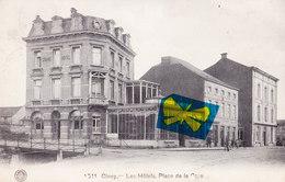 CINEY - Les Hôtels, Place De La Gare - Carte A Circulé En 1914 - Ciney