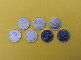 ITALIA REPUBBLICA LOTTO 7 MONETE FDC ITALY COINS UNC 5 LIRE DELFINO 92 93 94 95 96 97 98 - 5 Lire