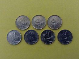 ITALIA REPUBBLICA LOTTO 7 MONETE FDC ITALY COINS UNC 20 LIRE RAMO DI QUERCIA 92 93 94 95 96 97 98 - 1946-… : Repubblica
