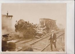 AMMUNITION EXPLOSION BLACK TOM ISLAND NEW JERSEY  1916 RAILWAY CHEMIN DE FER 25*20CM Fonds Victor FORBIN 1864-1947 - Trenes
