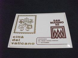 CITTA' DEL VATICANO SAN MARINO 82 CENTENARIO DEL PRIMO INTERO POSTALE - Borse E Saloni Del Collezionismo