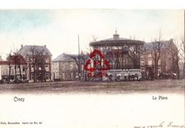 CINEY - La Place - Carte Colorée Avec Plusieurs Vache Autour Du Kiosque à Musique - Carte Circulé En 1904 - Ciney