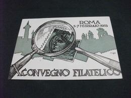 X° CONVEGNO FILATELICO ROMA 1955 LENTE INGRANDIMENTO FRANCOBOLLO - Borse E Saloni Del Collezionismo