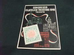 COGRESSO FILATELICO TRIESTINO 1948 TRIESTE ILLUSTRATORE VALENTI PIEGA ANG. - Francobolli (rappresentazioni)
