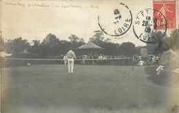 RARE CARTE PHOTO : SAINT-ETIENNE GARDEN-PARTY DE L'ETIVALIERE LE LAW-TENNIS SPORT 42 LOIRE 1909 - Saint Etienne