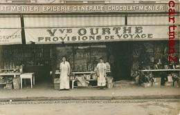 """CARTE PHOTO: """" VEUVE OURTHE PROVISIONS DE VOYAGE """" DEVANTURE COMMERCE EPICERIE A LOCALISER BELGIQUE ? - Shops"""