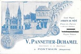 Publicité: V. Pannetier-Duhamel, Sacristain à Pontmain (Mayenne) Magasin D'objets De Piété - Publicités