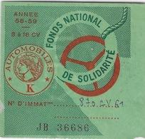 Vignette Automobile: Automobiles K - Année 58-59 Fonds National De Solidarité - Revenue Stamps