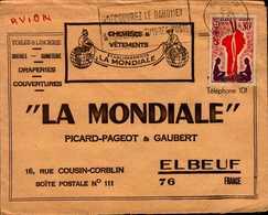 """ENVELOPPE """"LA MONDIALE"""" PICARG-PAGEOT ET GAUBERT A ELBEUF AVEC TIMBRE DU DAHOMEY - Publicités"""