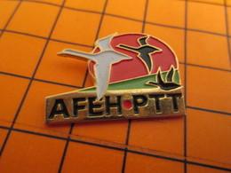 0120 Pin's Pins / Beau Et Rare  / THEME ANIMAUX / OISEAUX EN VOL AFEH PTT - Animaux
