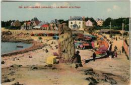 61lh 52 CPA - BATZ SUR MER - LE MENHIR ET LA PLAGE - Batz-sur-Mer (Bourg De B.)