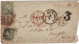 Lettre D' ESPAGNE Pour Les ETATS UNIS 1869 , Transit Londres Et Cachet D'arrivee à New York Taxe 3 Tampon , RARE - Lettres & Documents