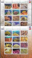 DOMINICAN REPUBLIC, 2019, MNH, CORAL REEFS OF THE DOMINICAN REPUBLIC, CORALS, FISH, 2 SHEETLETS OF 12v EACH - Mundo Aquatico