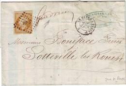 PRECURSEUR DES BOITES MOBILES Lettre Marque Manuscrite GARE DE ROUEN Pour Sotteville 1857 , RARE - 1849-1876: Période Classique