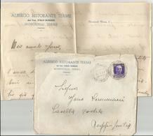 BUSTA PIU' LETTERA INTESTATA ALBERGO RISTORANTE TERME MONTICELLI ROMA VIAGGIATA 1937 (206) - Dépliants Turistici