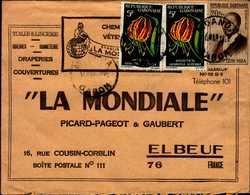 """ENVELOPPE """"LA MONDIALE"""" PICARD-PAGEOT ET GAUBERT A ELBEUF AVEC TIMBRES DU GABON - Publicités"""