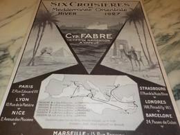 ANCIENNE PUBLICITE 6 CROISIERES  FABRE 1927 - Bateaux