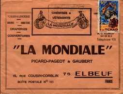 """ENVELOPPE """"LA MONDIALE""""..PICARD-PAGEOT ET GAUBERT A ELBEUF AVEC TIMBRE DU TCHAD - Publicités"""