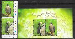 SINGAPORE, 2019, MNH, JOINT ISSUE WITH POLAND, BIRDS, BIRDS OF PREY, TOUCANS, 2v+ SHEETLET - Emissions Communes