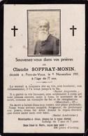Faire-part De Décès - Mémento - Claude Soffray-Monin - Pont-de-Vaux (71) - 9 Novembre 1915 - Overlijden