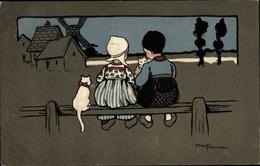 Artiste Cp Parkinson, Ethel, Paar In Holländischer Tracht Mit Kätzchen, Munk 485 - Animali