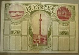 Calendrier. 11. Le Courrier De L'Escaut 1923. Photos Soldat Inconnu Et Colonne Du Congrès à Bruxelles - Calendriers