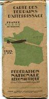 Aviation Carte Des Terrains D'atterrissage France Ouest 1934 - Chèques & Chèques De Voyage