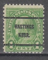 USA Precancel Vorausentwertung Preo, Bureau Nebraska, Hastings 632-61 - Vereinigte Staaten