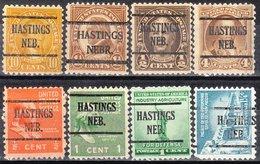 USA Precancel Vorausentwertung Preo, Locals Nebraska, Hastings 225, 8 Diff. Perf. 1 X 11x11, 7 X 11x10 1/2 - Vereinigte Staaten