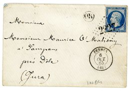 HAUTE SAONE ENV 1865 PESMES GC ET T15 - Poststempel (Briefe)