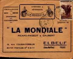 """ENVELOPPE """"LA MONDIALE""""..PICARD-PAGEOT ET GAUBERT A ELBEUF AVEC TIMBRE DE LA COTE D'IVOIRE - Publicités"""