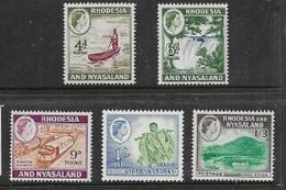 Rhodesia & Nasaland, 1959 Definitives, 4d, 6d,9d, 1/=, 1/3, MNH ** - Rhodesia & Nyasaland (1954-1963)