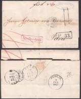 """Russie -LAC Expédiée De Reval 20/09/1864 Vers Paris. Griffe Encadrée """" AUS RUSSLAND"""" En Rouge  (RD61)DC5564 - 1857-1916 Impero"""