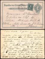 Brésil - EP 50 Reis  Yv 130 De San Antonio 09/07/1910 Vers Paris (RD76)DC5579 - Postwaardestukken