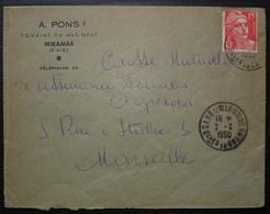 Miramas 1950 A Pons Domaine Du Mas-neuf Cad Gare De Miramas, Lettre Pour Marseille - Marcophilie (Lettres)