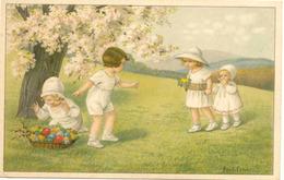 Pauli EBNER - Quatre Enfants Ramassant Des Oeufs De Pâques Dans Le Pré - Ebner, Pauli