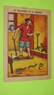 """Image Récompense D'école - FABLE DE LA FONTAINE - Le Villageois Et Le Serpent - RIVOIRE & JEANDET - TARARE """"état"""" / 120 - Documentos Antiguos"""