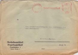 Lettre Pré-imprimée (Reichsknappschaft...) Obl. EMA 12pf (2138 Saarknappshaft) Saarbrücken 2 Le -9/7/42 Pour Metz - Allemagne