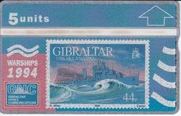 Nº 31 TARJETA DE GIBRALTAR DE UN SELLO CON UN BARCO NUEVO-MINT (SHIP-STAMP) - Gibraltar
