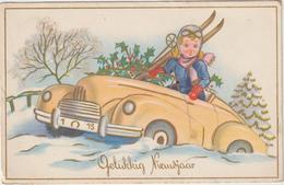 Fête , Bonne   Année ,  Gelukbig  Nieujaar ,  Voiture -  Ski - Anno Nuovo