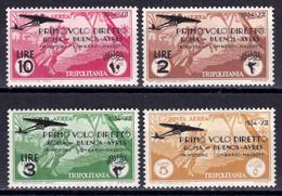 Italia Colonie Tripolitania 1934 Primo Volo Roma - Buenos Aires Posta Aerea Nuovi Integri Mnh - Tripolitania