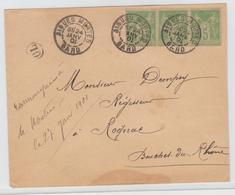 Gard  29 . AIGUES-VIVES CàD Type  A2 / Sage  + OL / LSC De 1901  Pour Ràgnac - Marcophilie (Lettres)