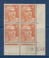 "FR Coins Datés YT 808 "" Gandon 4F Orange "" Neuf** Du 9.12.48 - 1940-1949"