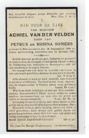 DP ACHIEL VAN DER VELDEN Geb.Nieuwenhove 1909,zoon V. PETRUS EN ROSINA SOMERS, Gestorven  1933 - Religion & Esotérisme
