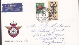 New Zealand AIR MAIL Par Avion Label AUCKLAND 1967 FDC Cover Introduction Of Decimal Currency MIDDELSEX England - FDC
