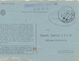 1942 RODI EGEO COMANDO MILITARE MARINA DI LERO OVALE E LINEARE VIOLA+ POSTA MILITARE 550 - 1900-44 Vittorio Emanuele III