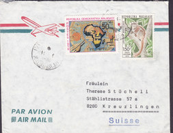 Madagascar Aeroplane Cachet Fiangonana Katoloka MOROMBE 1982 Cover Lettre KREUZLINGEN Suisse Map Landkarte Lemur - Madagascar (1960-...)