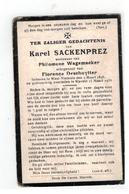 DP Karel SACKENPREZ Geb West-Vleteren 1848,wedn V Phil.Wagemaeker,echtgen.v Flor.Deschuytter , Gestorven Stavele  1930 - Religion & Esotérisme